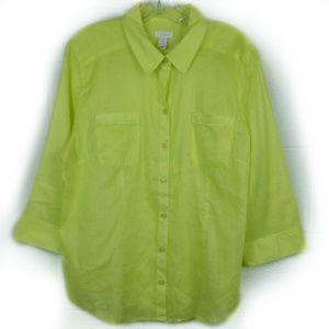 Chico's Sheer Neon Button Blouse